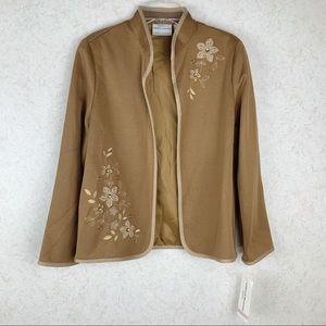 Alfred Dunner Ponte bronze floral open blazer